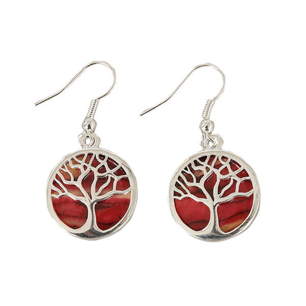 Heathergems Round Tree of Life Earrings In Silver