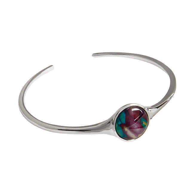 Heathergems Simple Round Bangle In Silver