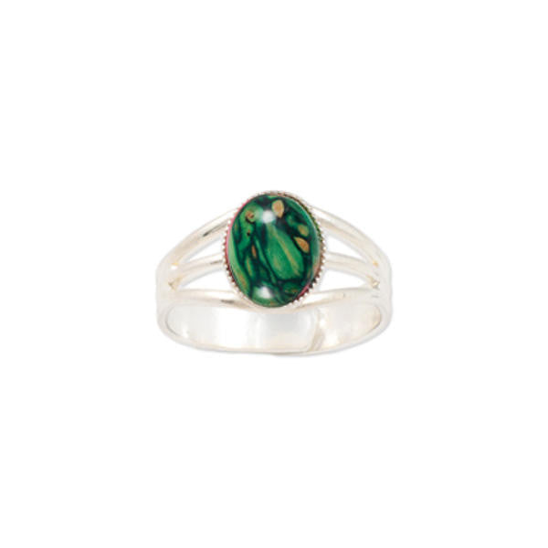 Heathergems Small Milled Edge Round Ring in Silver & Green