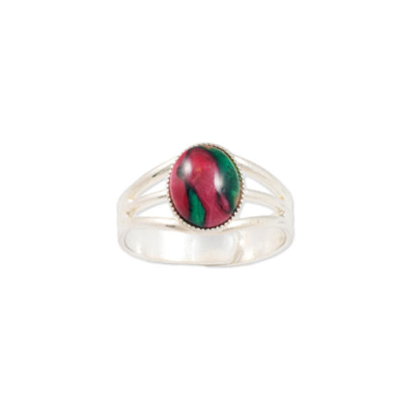 Heathergems Small Milled Edge Round Ring in Silver & Red