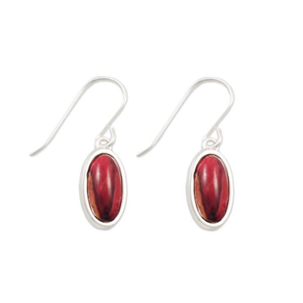 Heathergems Small Oval Set Drop Earrings In Silver