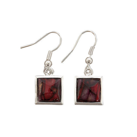Heathergems Square Drop Earrings In Silver