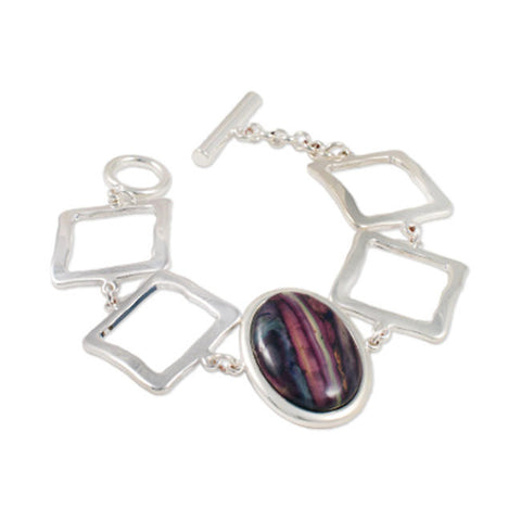 Heathergems Square Link Oval Gem Bracelet In Silver