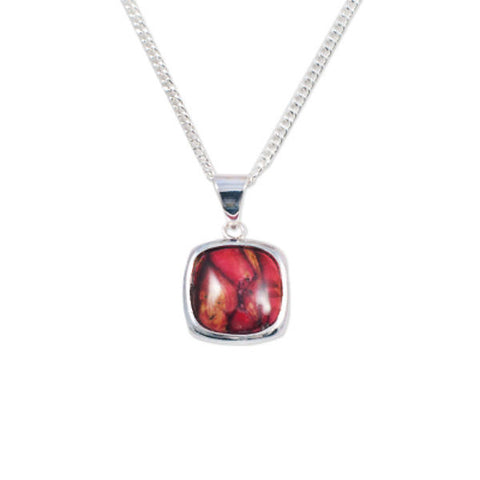 Heathergems Square Pendant Necklace In Silver