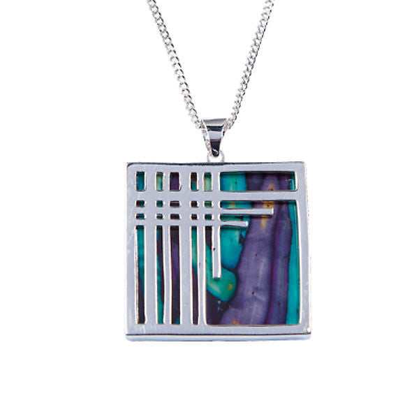 Heathergems Square Tartan Pendant Necklace In Silver