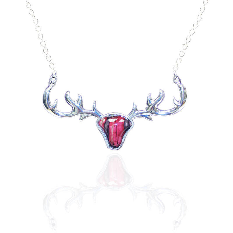 Heathergems Stag's Head Pendant Necklace In Silver