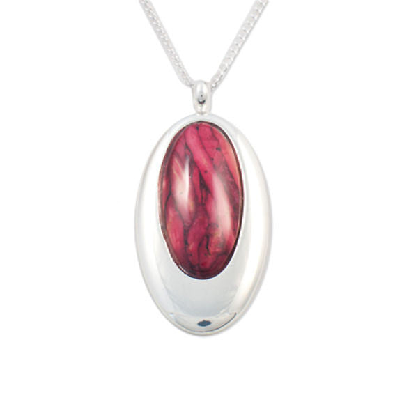 Heathergems Tapered Set Oval Pendant Necklace In Silver