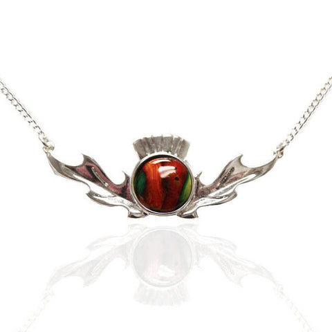 Heathergems Thistle Pendant Necklace In Silver