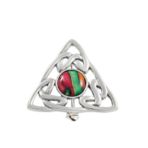 Heathergems Triskele Triangle Brooch In Pewter