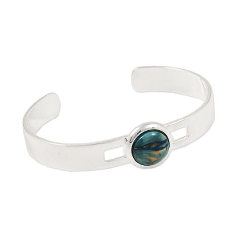 Heathergems Wide Band Set Round Bangle In Silver