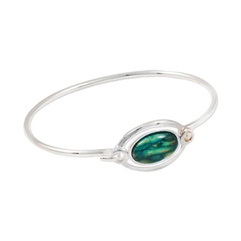 Heathergems Wire Set Oval Hook Bangle In Silver