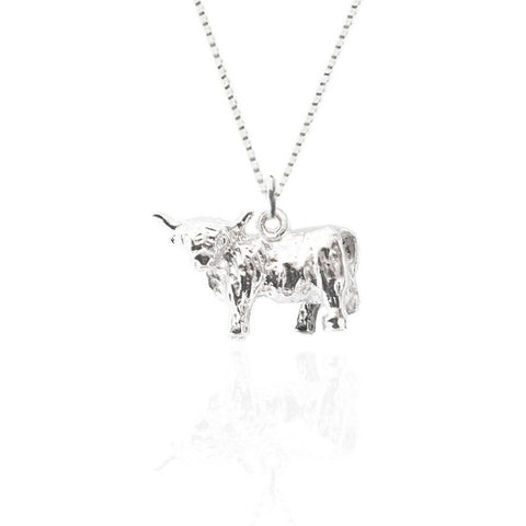 Highland Cow Pendant in Silver