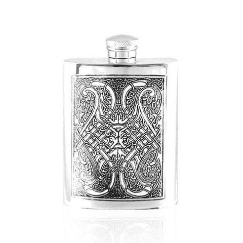 Hip Flask with Celtic Design in Pewter