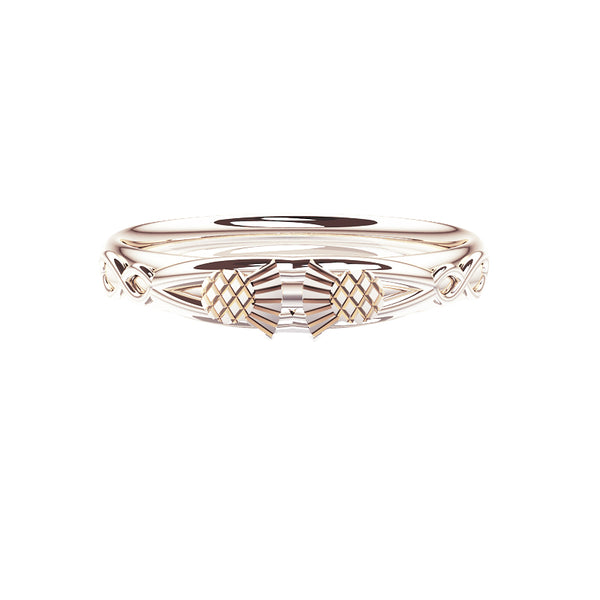 Scottish Thistle Celtic Infinity Wedding Ring in white gold