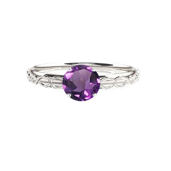 Infinity Celtic Amethyst Engagement Ring in white gold