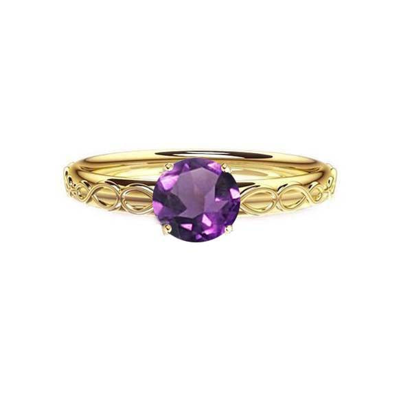 Infinity Celtic Amethyst Engagement Ring in gold