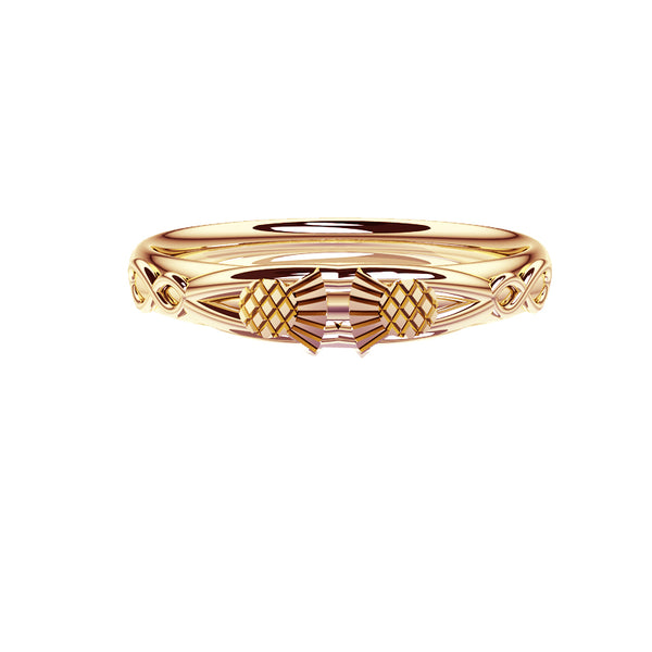 Scottish Thistle Celtic Infinity Wedding Ring in yellow gold