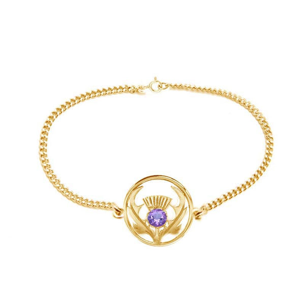 Round Scottish Thistle Bracelet in Gold with Amethyst
