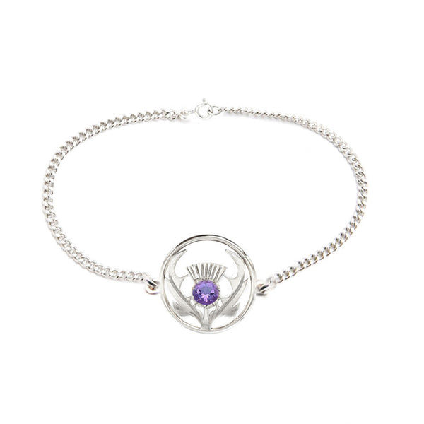 Round Scottish Thistle Bracelet in Silver with Amethyst
