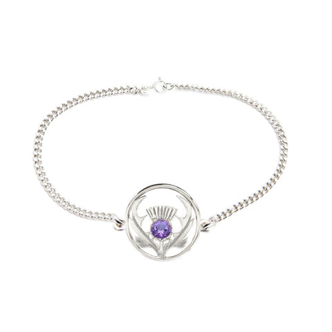 Round Scottish Thistle Bracelet with Amethyst