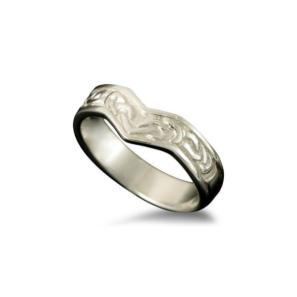 Ladies Bruray Celtic Knotwork Wishbone Ring in White Gold