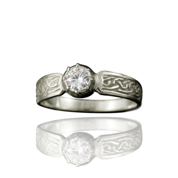 Ladies Celtic Diamond Engagement Ring with Claw Setting in Platinum