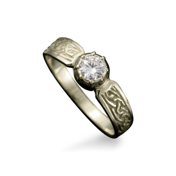 Ladies Celtic Diamond Engagement Ring with Claw Setting in White Gold