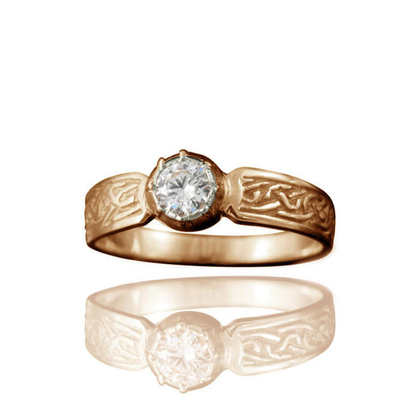 Ladies Celtic Diamond Engagement Ring with Claw Setting in Yellow Gold