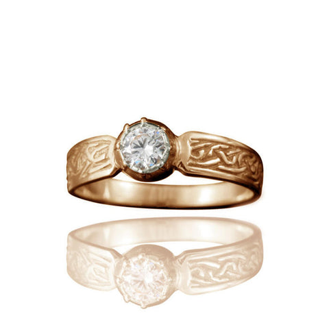 Ladies Celtic Diamond Engagement Ring with Claw Setting