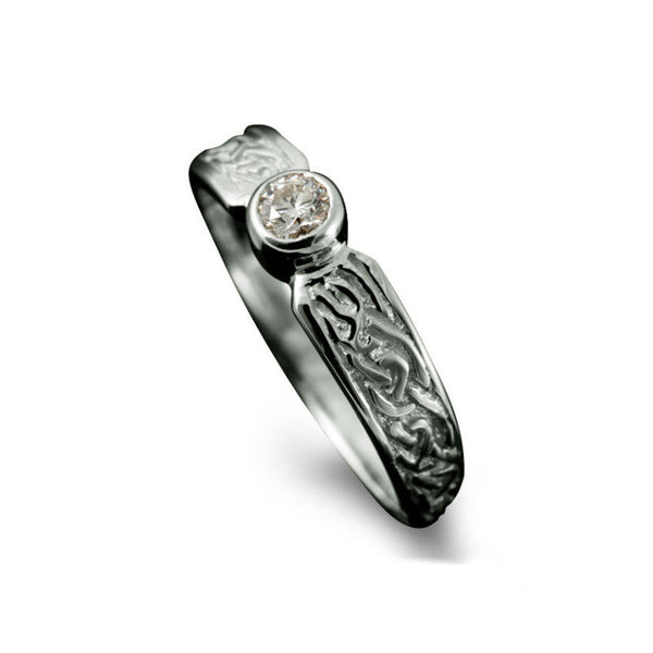 Ladies Celtic Diamond Engagement Ring with Rub-Over Setting in Platinum