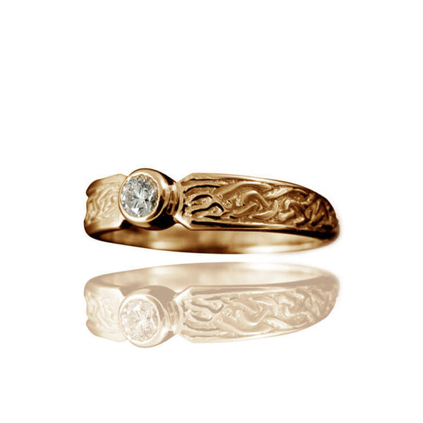 Ladies Celtic Diamond Engagement Ring with Rub-Over Setting in Yellow Gold