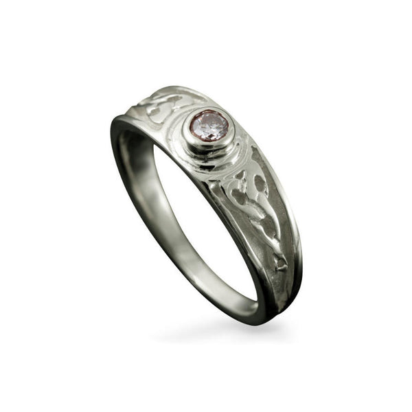 Ladies Celtic Diamond Trinty Engagement Ring with Rub-Over Setting Platinum