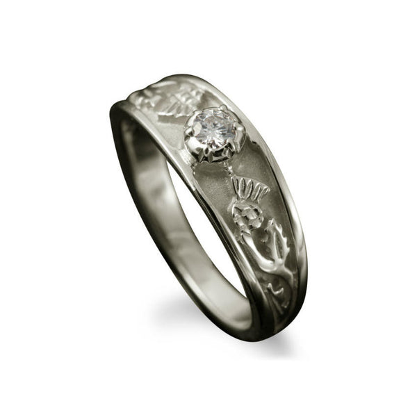 Ladies Diamond Scottish Thistle Engagement Ring with Claw Setting in Platinum