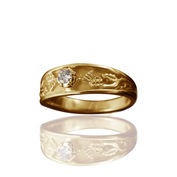 Ladies Diamond Scottish Thistle Engagement Ring with Claw Setting in Yellow Gold