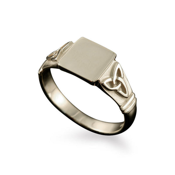 Large Celtic Trinity Knot Signet Ring in White Gold