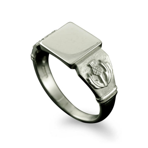 Large Scottish Thistle Signet Ring Platinum