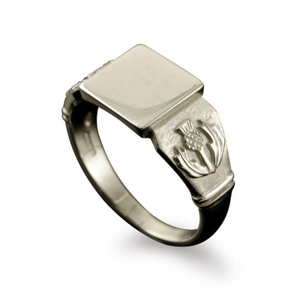 Large Scottish Thistle Signet Ring White Gold