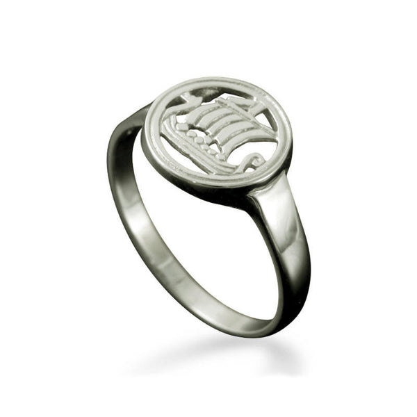 Large Viking Longship Ring in Platinum