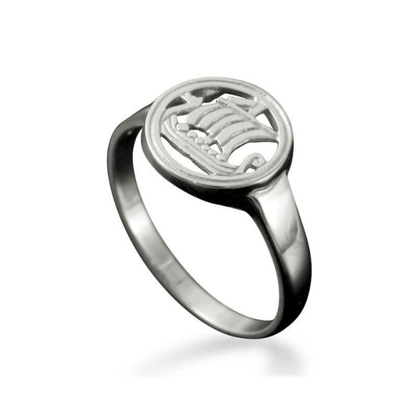 Large Viking Longship Ring in Sterling Silver