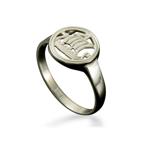 Large Viking Longship Ring in White Gold