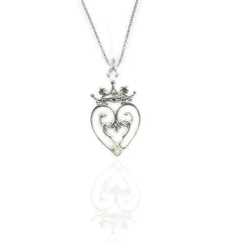 Luckenbooth double heart Pendant in Sterling Silver