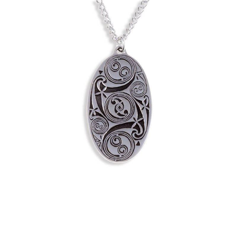 Lindisfarne Spirals Oval Pendant In Pewter