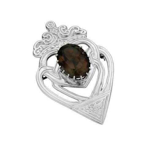 Luckenbooth Brooch with Smoky Quartz In Silver