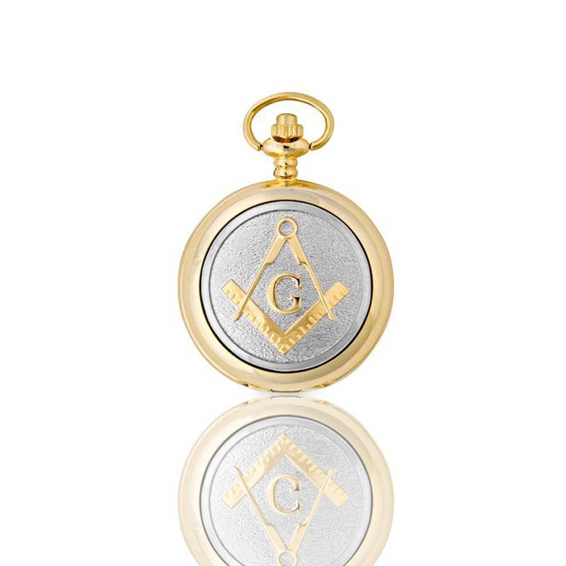 Masonic Square and Compass G Mechanical Pocket Watch in Gold