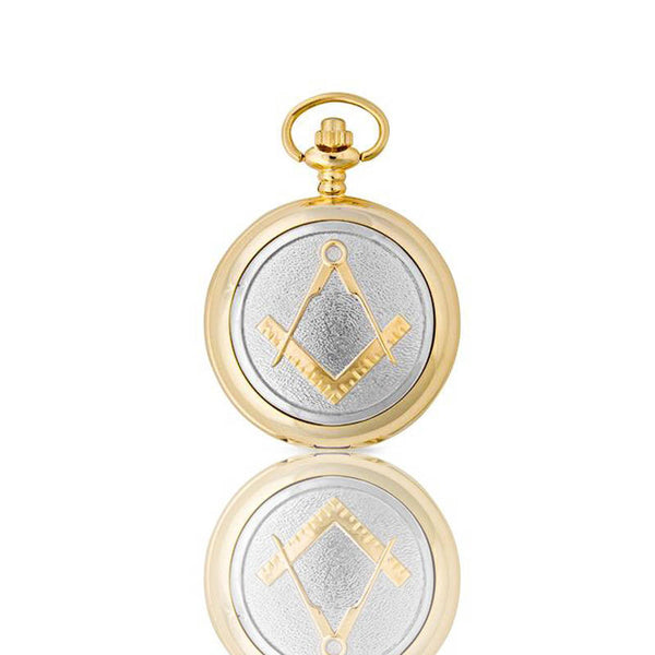 Masonic Square and Compass Mechanical Pocket Watch in Gold