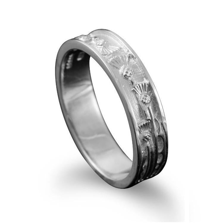 Narrow Scottish Thistle Motif Ring