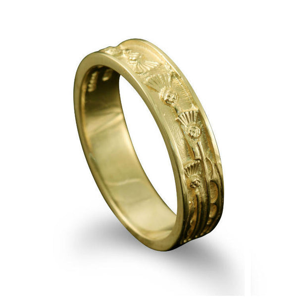 Narrow Scottish Thistle Motif Ring Yellow Gold