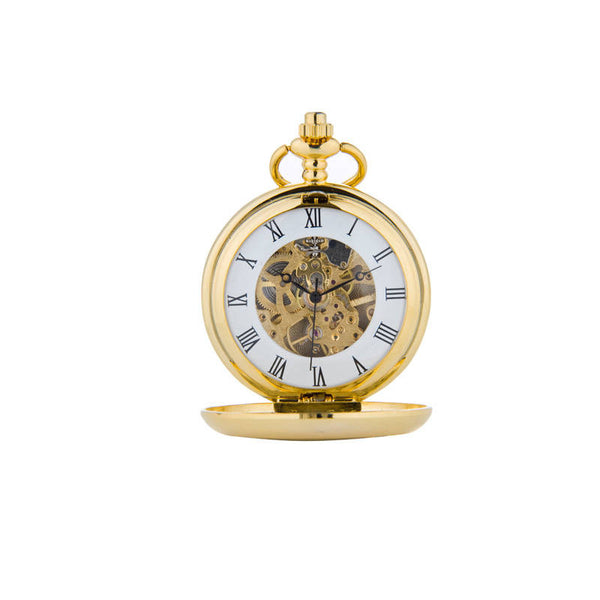 Celtic Thistle Knotwork Mechanical Pocket Watch In Gold Front Face