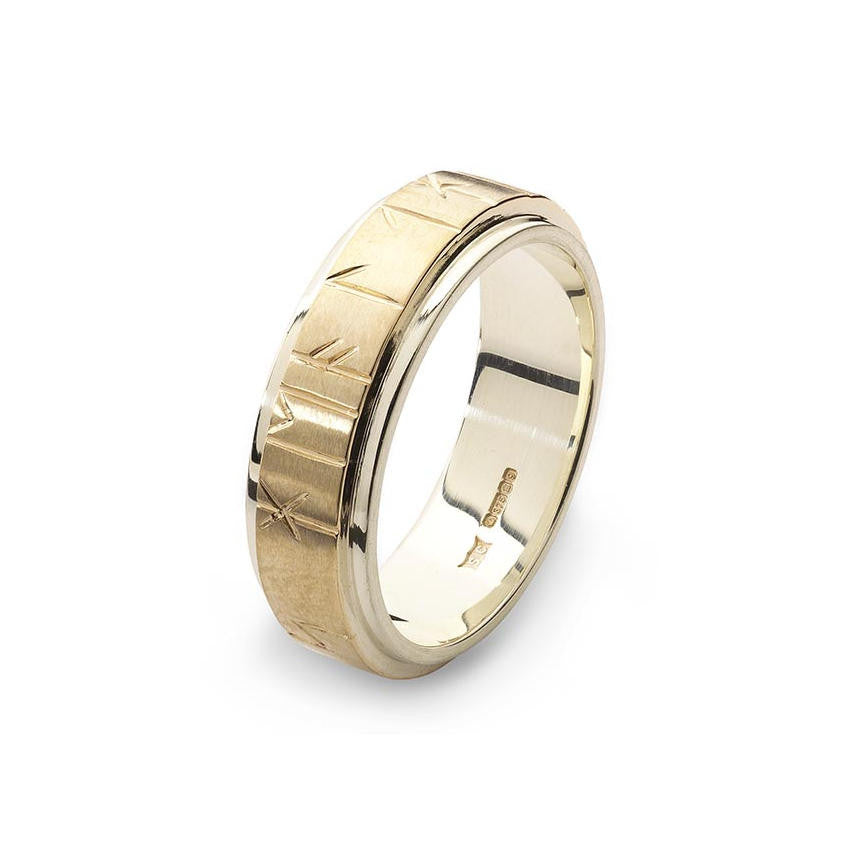 Viking Bands: Orkney Raised Band Viking Runic Ring In White & Yellow