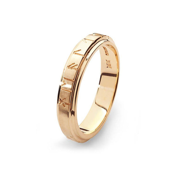 Orkney Raised Narrow Band Viking Runic Ring in Gold